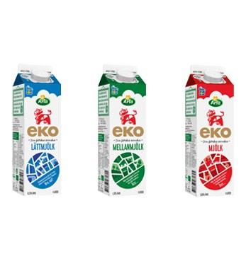 bilder på tre mjölkpaket